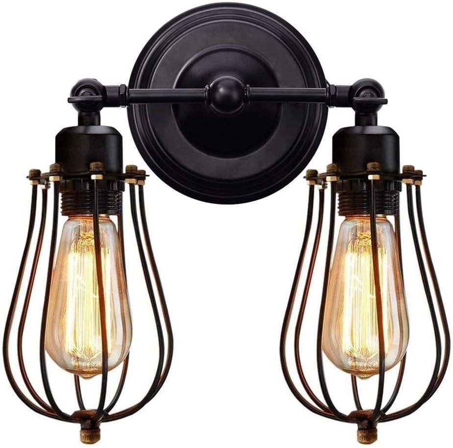 Lámpara de Pared de Doble Cabeza Ajustable de Arte de Hierro Antiguo Industrial Lámpara de Pared LED de Estilo rústico Americano para Dormitorio Pasillo Escalera Restaurante Corredor