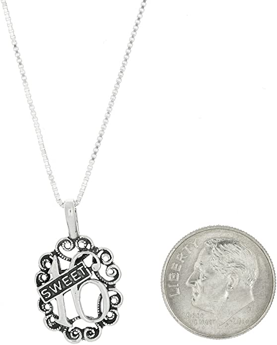 Sterling Silver One Sided Filigree Fancy Sweet 16 Necklace