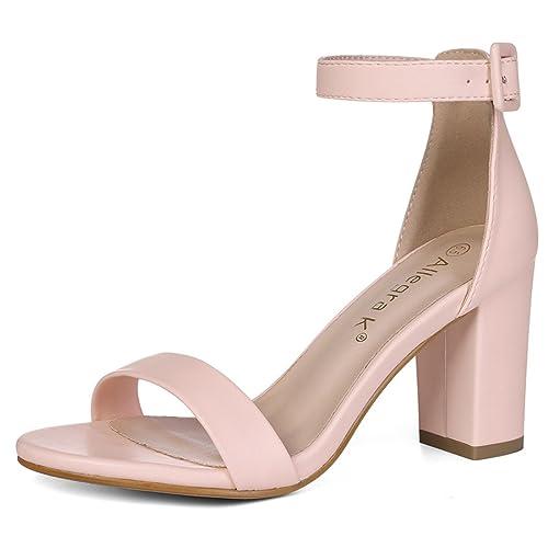 1c41e5ac07f7 Allegra K Women s Open Toe High Chunky Heel Ankle Strap Sandals Light Pink  3 UK