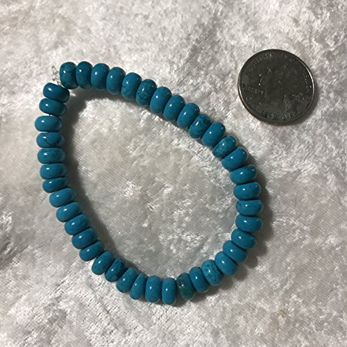 - natural turquoise gemstone rondelles beaded stretch bracelet