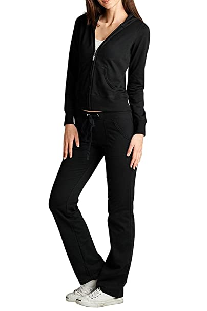 e4618b531 JEANS FOR LOVE Women's 2pcs Tracksuit Hoodies French Terry Pants Set Sport  Jogging Wear Casual (