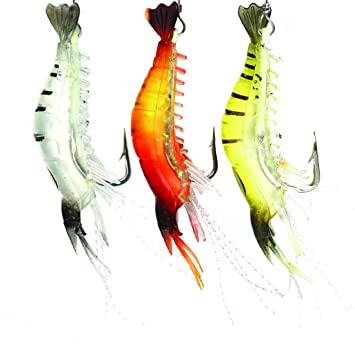 Plastic Soft Bait Set Luminous Shrimp Fishing Lure with Hook Fishing Tackle