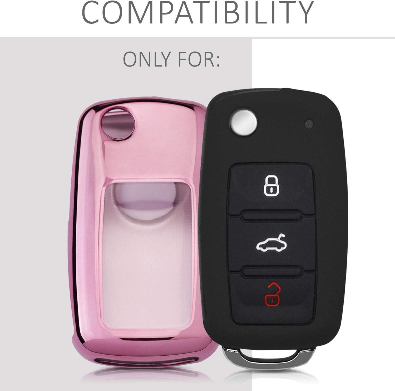 de Carcasa Protectora - Case de Mando de Auto con dise/ño Good Vibes Only Suave Silicona kwmobile Funda para Llave de 3 Botones para Coche VW Skoda Seat