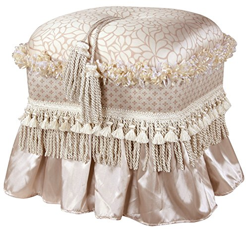 Jennifer Taylor Home Cassandra Collection Traditional Polyester Upholstered Rectangular Ottoman with Skirt, Trim and Tassels, Pearl White