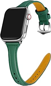 ONMROAD Leather Band Compatible with Apple Watch 40mm Series 5 Series 4 Band Women Slim Edition Texture Leather Replacement Strap for iWatch Series 4/5(Deep Green Wristband+Silver Adapter)