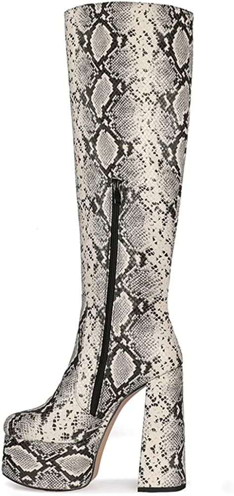 Lydee Fashion Chunky Boots Block High Heels Snake