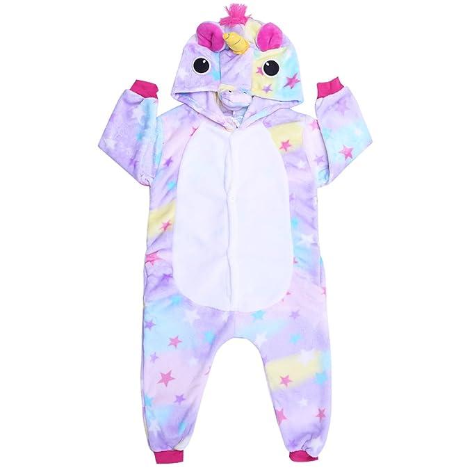 Pijama Unicornio Unisex Niños Pijamas de una pieza unicornio Mono Disfraz de Animal Ropa dormir para