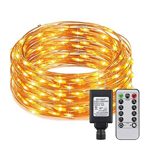ER CHEN Dimmable LED String Lights Plug in with Remote, 108ft 300 LED Copper Wire Warm White Fairy Lights 8 Modes Indoor and Outdoor Decorative Lights with Timer for Bedroom, Patio, Garden, Yard