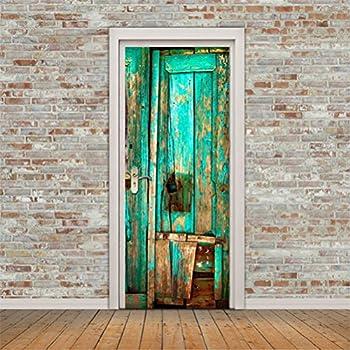 CaseFan New 3D Old Wooden Door Wall Mural Wallpaper Stickers Vinyl  Removable Decals For Home Room