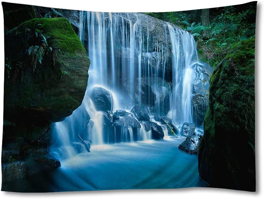 FHYGJD Blue Mountains Waterfall Art Print Tapestries,Home Wall Decor Tapestry (40x60 inch)