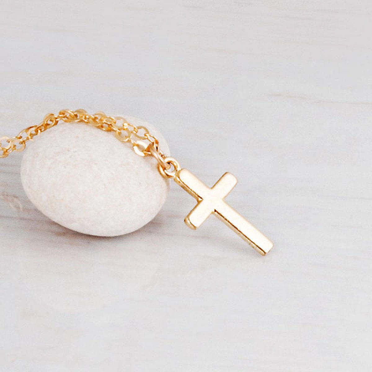 Fremttly Womens Friendship Gift Handmade 14k Gold Filled Dainty Cross Choker Necklace-CK3-Cross by Fremttly (Image #6)