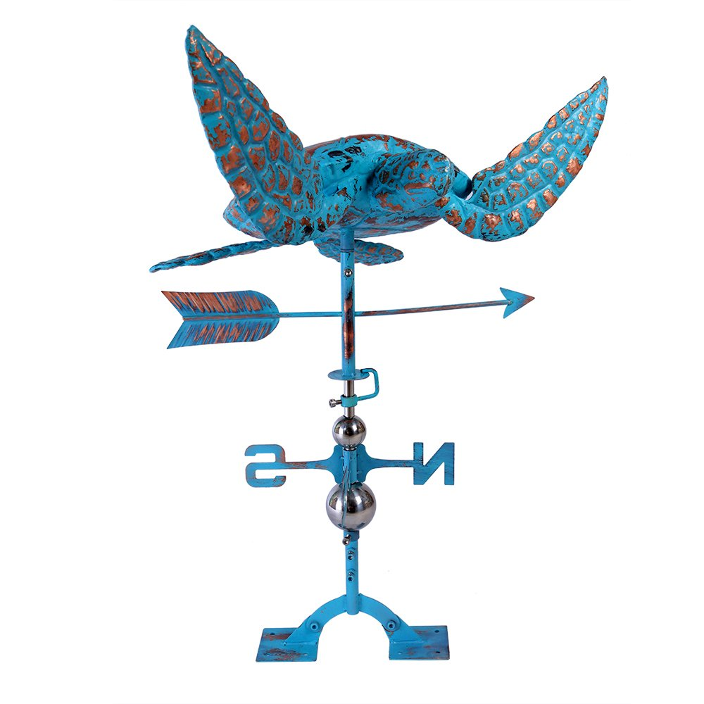 IORMAN Original Hand-forced 3D Sea Turtle Weathervane Aged Copper Wind Directions Symbol Decor for House Farmhouse Roof Outdoor Garden