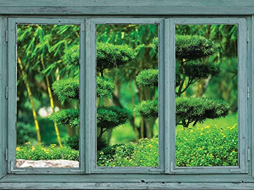 Vintage Teal Window Looking Out Into a Japanese Garden with Sculpted Trees Wall Mural