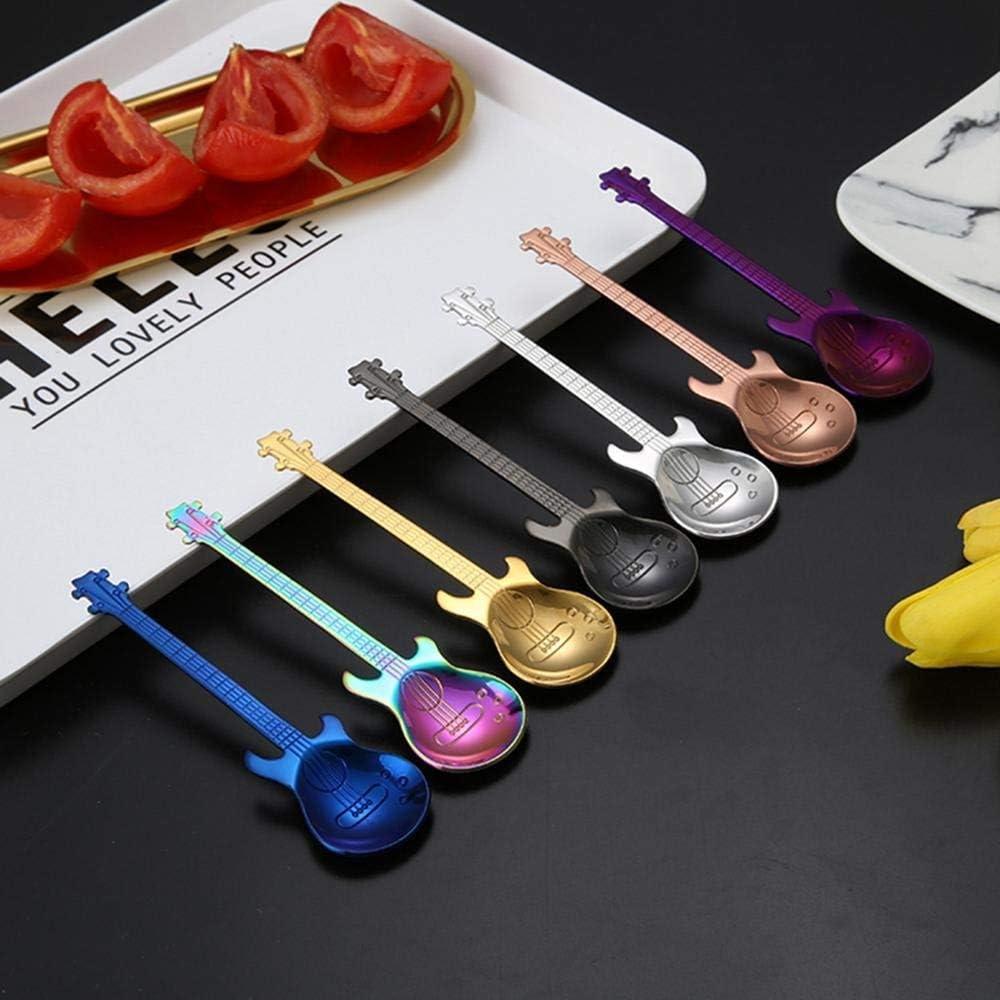 Coffee House Isopeen Stainless Steel Guitar Shape Dessert Cake Tea Coffee Spoon Kitchen Tools Teaspoons for Home