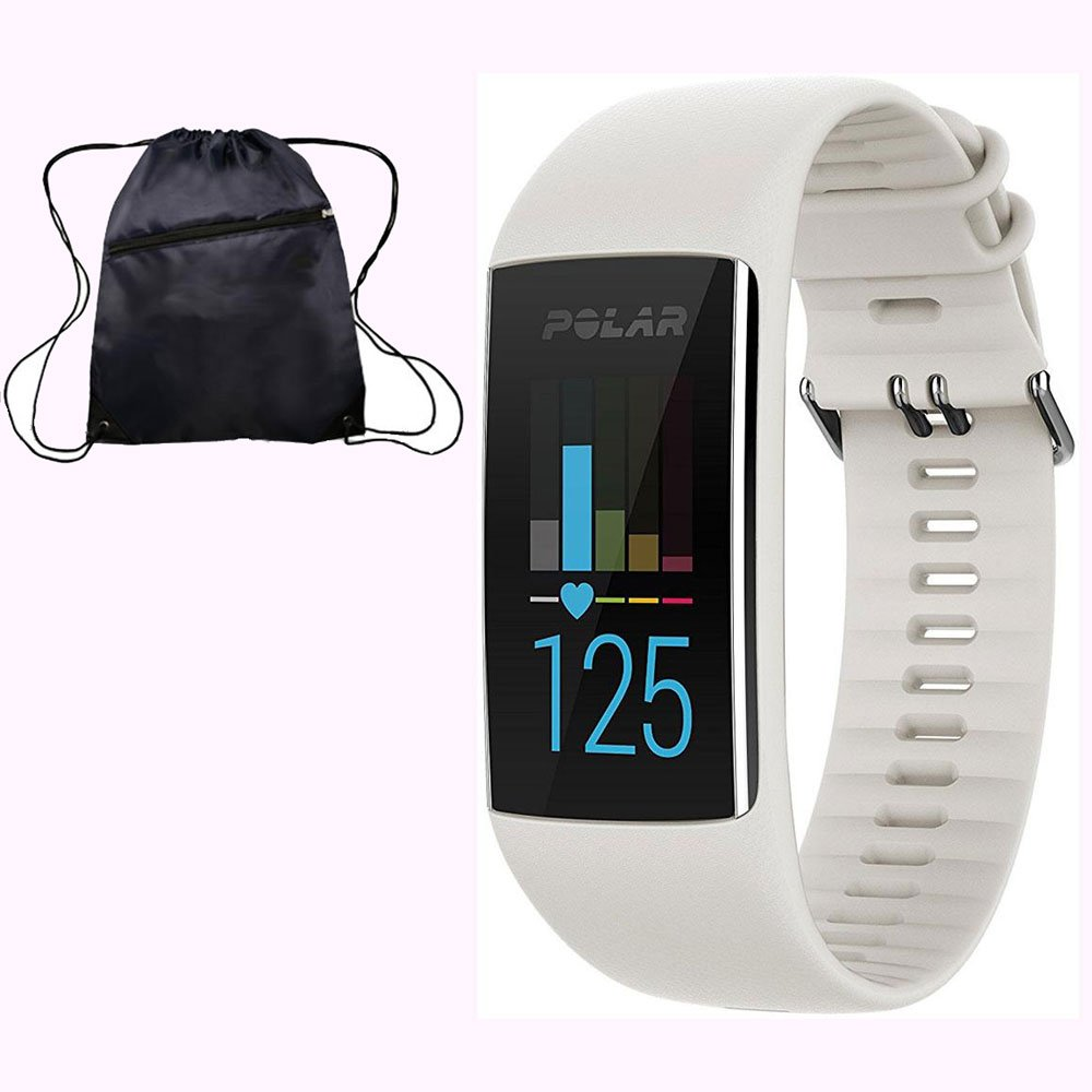 Polar A370 Waterproof GPS Fitness Tracker with Wrist Based HR - White / Small w/ Cinch Travel Bag