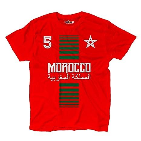 KiarenzaFD Camiseta T-Shirt Hombre Nacional Deporte Morocco Marruecos Maroc 5 Futbol Deporte Africa Stella
