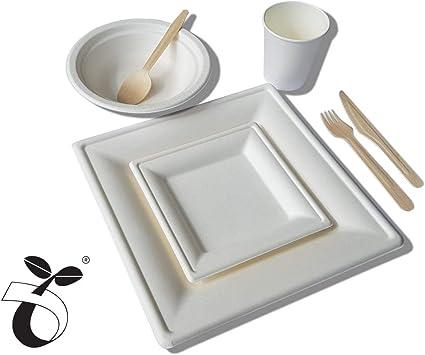 Juego de cubiertos ecológicos Domtech: 84 piezas, platos ...