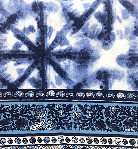 Artisan NY 3pc Duvet Cover Set Geometric Exotic Bohemian Tie Dye Medallion Pattern Shades of Blue with a Geometric Floral Border in Blue and Pink on White (Full/Queen)