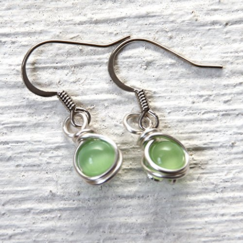 Casual Wear Small Lime Green Dangle Earrings - Handmade Wire Wrapped Jewelry ()