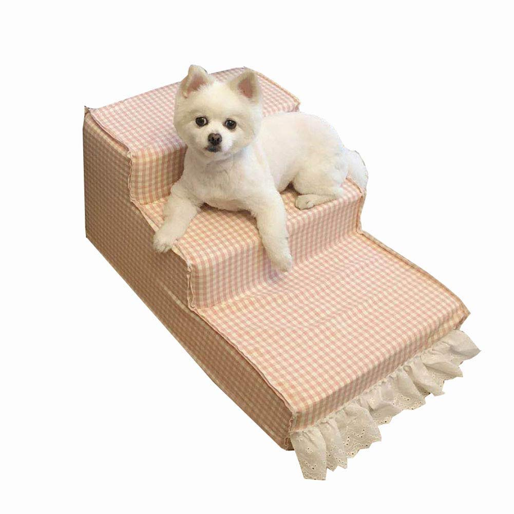3-Step Pet Dog Cat Stair, Removable Non-Slip Pet Ramp Ladder Up to 55 LB, Cat Steps Dog Stairs for High Beds & Tall Sofa