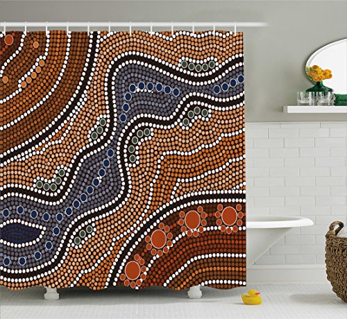 - Ambesonne Art Shower Curtain by, Aboriginal Style of Dot Painting Depicting River Native Australian Illustration, Fabric Bathroom Decor Set with Hooks, 70 Inches, Brown Blue Orange