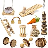 Sofier Hamster Chew Toys 11 Pack Natural Wooden Pet Toy Hanging Hamster Accessories Small Pets Teeth Care Molar Exercise Carr