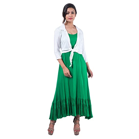 Mamosa Green Sleeveless Rayon Gown With Rayon White 34th Sleeve Tie