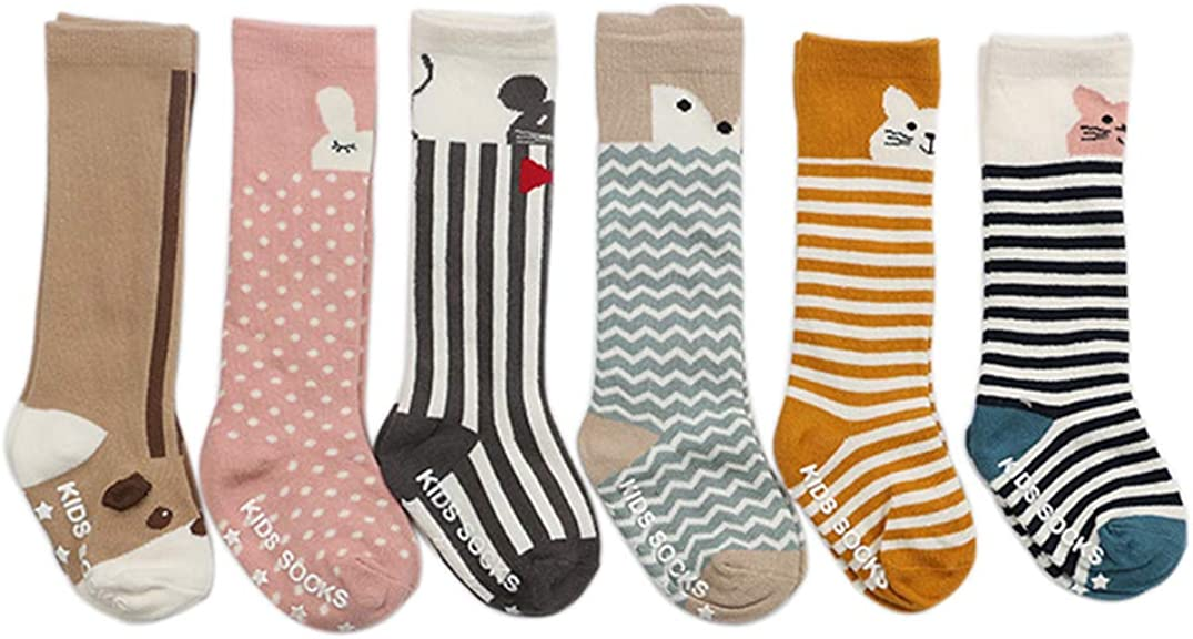 VWU 6 Pack Baby Cute Animal Over The Calf Socks Toddler Anti Slip Cotton Socks