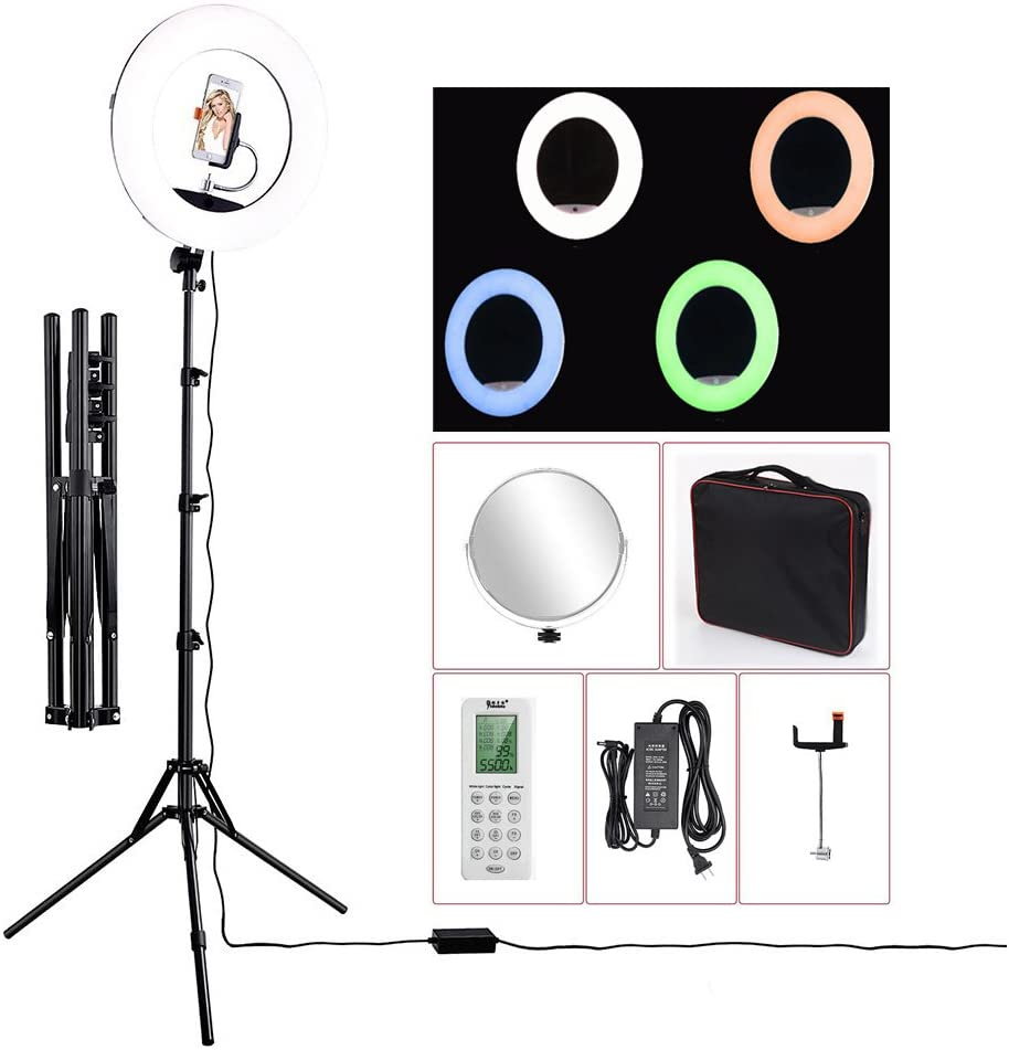 "18"" LED Video Ring Light with Mirror, RGB+W Colors Lamp, Stand Tripod, for DSLR, iPhone & Android Smart Phones - Professional Studio Photography Dimmable Lighting Kit for Live Video Makeup & YouTube"