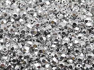 100pcs Checa Perlas de Cristal Cuentas facetadas Fuego, redonda, 5mm, Silver Metallic (Crystal Full Labrador)