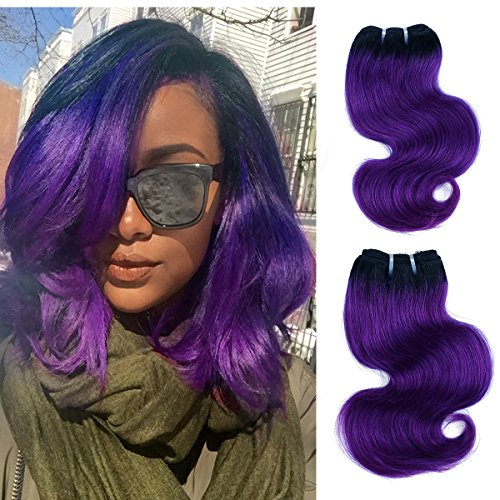 Brazilian Body wave ombre human hair Weft 4 bundles Remy Human Virgin Hair Extension by Yaki Beauty (1b/purple Natural Black to Purple)