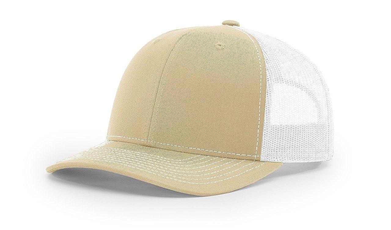 Amazon.com  Richardson Khaki White 112 Mesh Back Trucker Cap Snapback Hat  w THP No Sweat Headliner  Clothing dca9009e2991