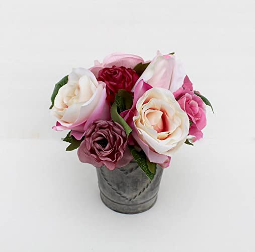 Amazon small rose arrangement spring table centerpiece silk small rose arrangement spring table centerpiece silk flower arrangement mothers day gift summer mightylinksfo