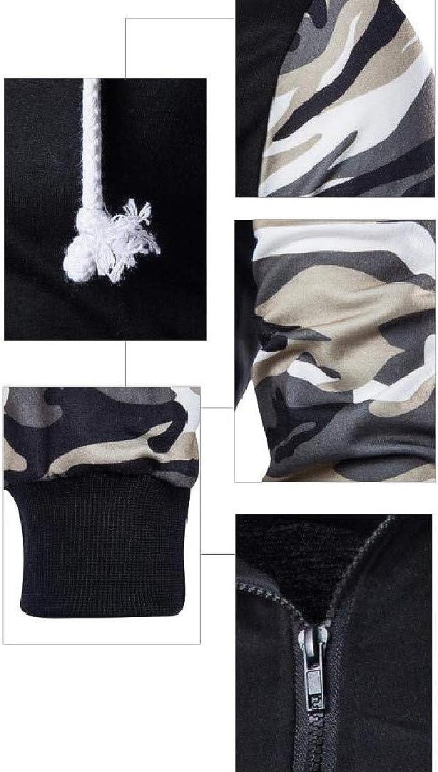 willwinMen WillingStart Men Outwear Camouflage Long Sleeve Zipper Sweatshirts with Hood