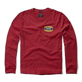 Abercrombie & Fitch para hombre Applique Logo Graphic camiseta de manga larga en rojo–nuevo etiqueta