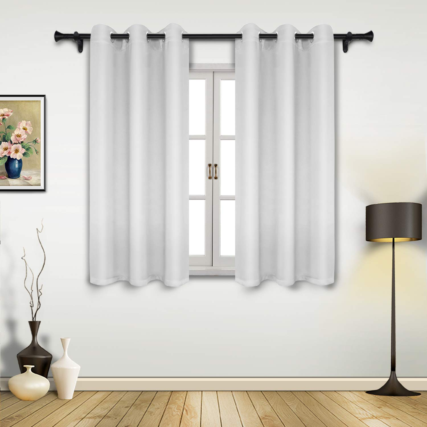 SUO AI TEXTILE Rod Pocket Blackout Curtain Scalloped Valances Blackout Short Curtains for Small Window 42x18 Inch Ture Red 2 Panels Fumily