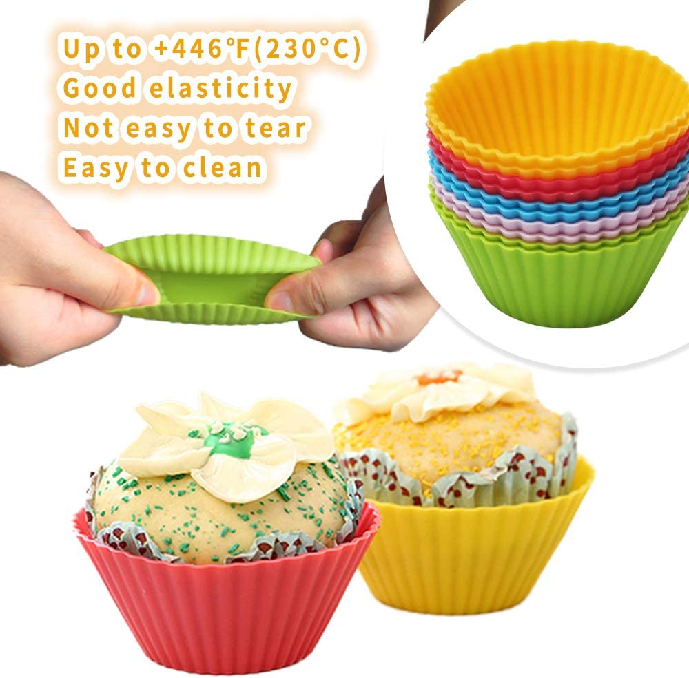 Silicone Bread Loaf Baking Tin 29.2x12.8cmx6.2cm 11.5X5X2.4in GDORUN Large Non Stick Bread Baking Mold with 10pcs Cupcake Molds and 1 Pastry Brush