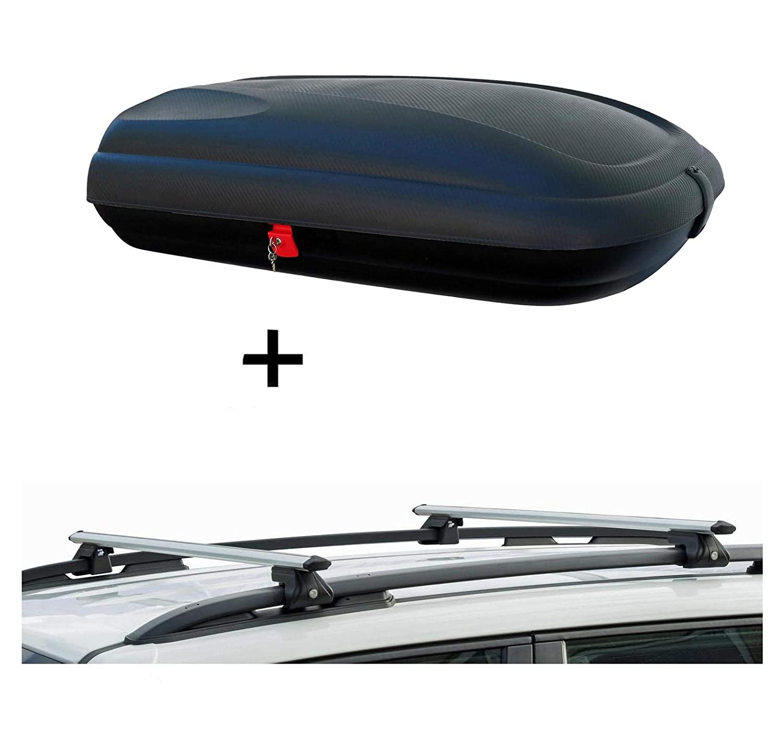 Dachbox BA320 carbonlook Relingtr/äger CRV135 kompatibel mit Toyota Corolla Verso ab 02