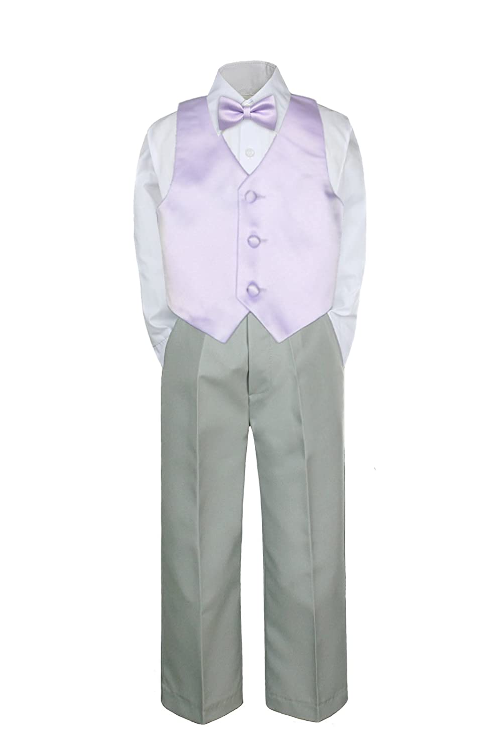 a47718f5f5a Amazon.com  4pc Formal Baby Toddler Boys Lilac Vest Bow Tie Silver Pants  Suits S-7 (S (0-6 months))  Baby
