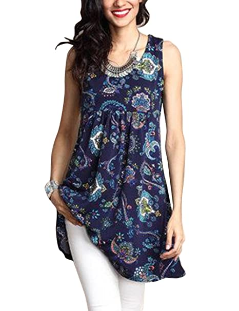 6d62edc1cbb85 Shineya Women s Fashion Floral Print Tunic Long Tank Top O Neck Sleeveless  Blouses with Plus Size
