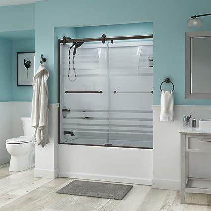 . Delta Shower Doors SD3276678 Linden Semi Frameless Contemporary Sliding  Bathtub Door 60in x58 3 4in  Bronze Track