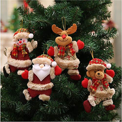 Bcharm Christmas Tree Ornament Sets, 4pc Christmas Plush & Plaids Dolls for Decoration, Santa/Snowman/Elk/Bear