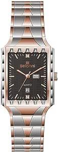 Belonni Dress Watch for Men Analog Stainless Steel B-1005-G Silver Rose Black