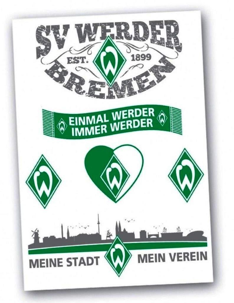 Aufkleberkarte 6-teilig Einmal Werder Immer Werder Plus Lesezeichen I Love Bremen SV Werder Bremen Aufkleber Sticker