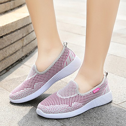 EnllerviiD Women Light Weight Go Easy Slip On Mesh Walking Shoes Flat Heel 6301 Light Grey 1voK8