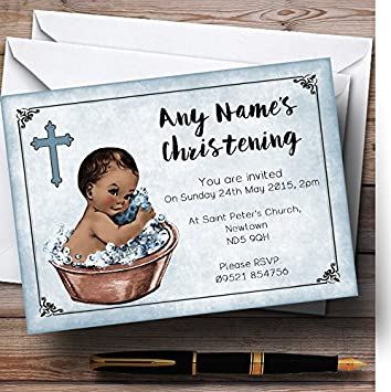 Amazon Com 10 X Vintage Baby Boy Dark Skin Customized Christening