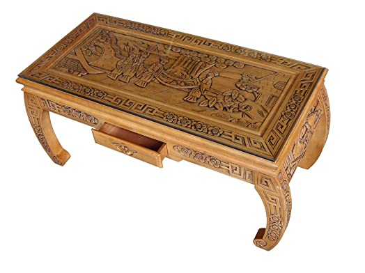 Chinese Furniture Handcarved Oriental Scroll Coffee Table with
