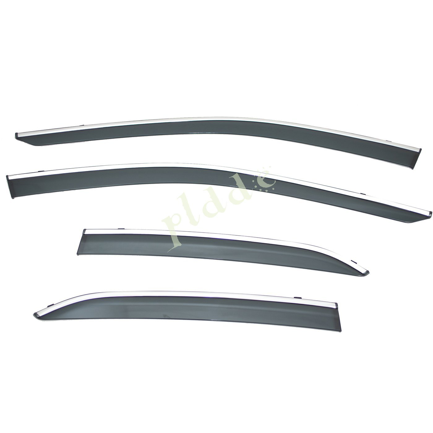 PLDDE 4pcs Smoke Tint With Chrome Trim Outside Mount Tape On//Clip On Style PVC Sun Rain Guard Window Visors Fit 18-19 Toyota Camry