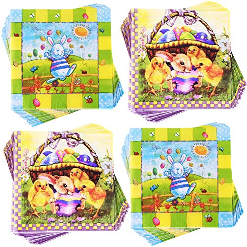 Yaomiao 80 Pieces Easter Paper Napkins Easter Bunny Egg Napkin Cocktail Napkins for Party Supplies, 2 Styles