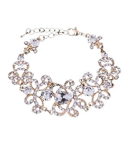 Schmuckset Armband Ohrringe Silber Strass Gold Braut Hochzeit Groß Schmuck Xxl Braut-accessoires
